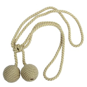 small carpet boulel curtain tieback in straw colour a hand wrapped luxury holdback for drapes