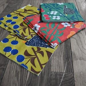 cherry orchard designgreen  kitchen paper napkins a vintage swedish print by Marianne Westman showin