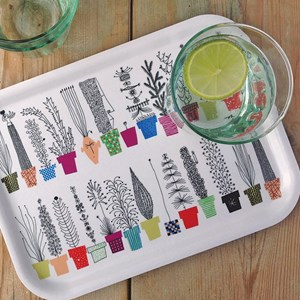 crazy pots small tray by Olle Eksell Italiensk blomsterhylla tray showing cheerful flower pot design