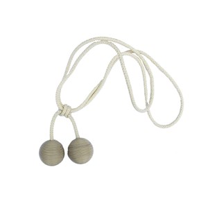 leather ball tiebacks - cream