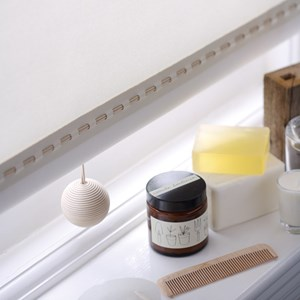 leather ball blind pull -  cream
