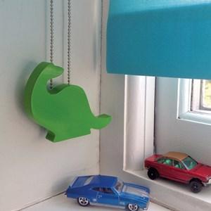 green dinosaur shaped wooden decorative window roller, venetian, vertical, pleated, roman  blind cor