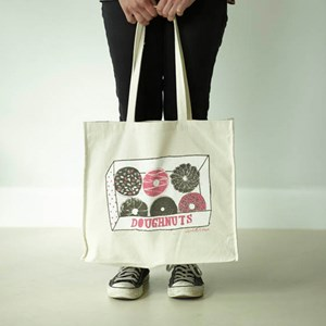 doughnut box biscuit tote shopping canvas bag illustrated by charlotte farmer