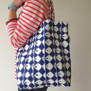 frisco cotton bag marainne westmans classic blue and white fish design, swedish vintage