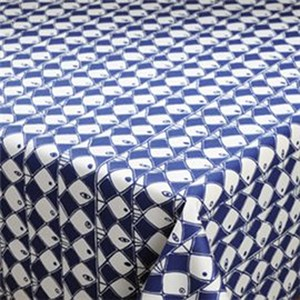frisco blue & white stylised vintage fish design by marainne westman in oilcloth