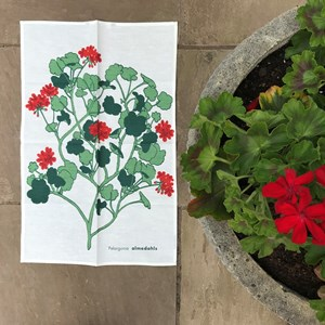 geraniums tea towel - red