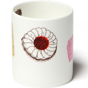 family favourites biscuit mug has a selection of nice, bonbon, tunocks, wafer, digestive illustrated