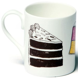 naughty but nice mug featuring battenburg doughnuts and gateux cake by British illustrator charlotte