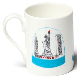 snow globes or shakers of the world feature on British designer Charlotte Farmers shake it mug