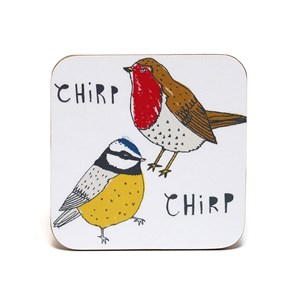 chirp coasters by illustrator charlotte farmer featuring a robins and blue tits saying chirp