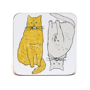 meow coasters by illustrator charlotte farmer featuring a fat content cat saying meow in yellow colo