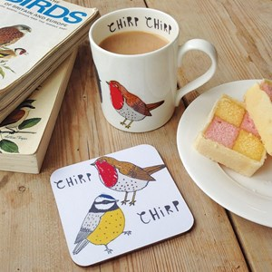 chirp bird mug & coaster gift set of robins and blue tits by illustrator charlotte farmer a gift for