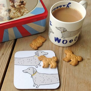 wooof mug and coaster of dachshund sausage dogs saying woof drawn by humerous illustrator charlotte