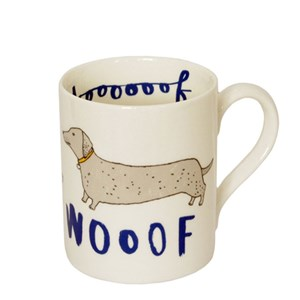 daschund sausage dog mug saying woof by illustrator charlotte farmer for dog-lovers