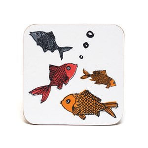cheap kitchenwares : charming forgetful fish goldfish coasters by illustrator charlotte farmer now a