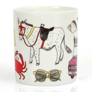 seaside fun mug by charlotte farmer featuring nautical sunglasses, crabs, trawlers lobsters, whales,