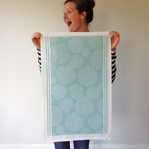 asha contemporary patterned tea towel made by melanie darwin in duck egg blue