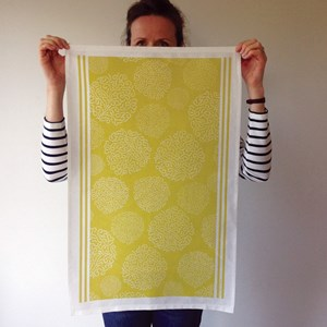 asha contemporary british tea towel design in gooseberry green  by melanie darwin