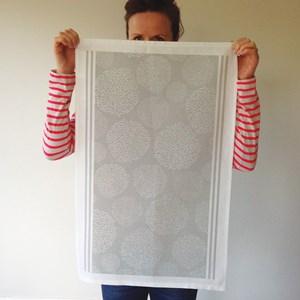 asha contemporary british tea towel design in elephant grey  by melanie darwin