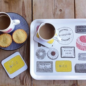 family favourites biscuit mug, coaster and drinks tray gift set in red black yellow pink, by British