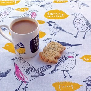 chirp bird lovers mug and kitchen tea towel gift with robin thrush tit birds