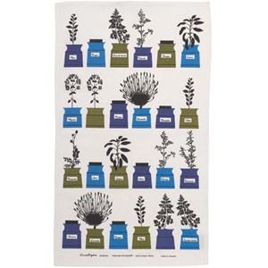 herb garden vintage kitchen cotton/linen tea towel in blue, white and green colours