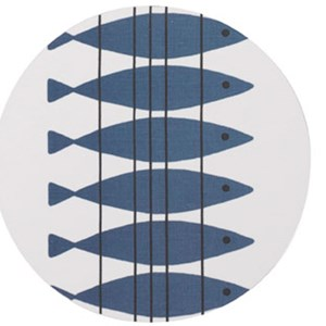 blue and white heat proof kitchen trivet featuring high quality Swedish vintage Marianne Nilsson des
