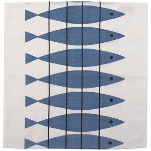 blue and white cotton/linen traditional fabric napkins featuring Swedish vintage herring sill design