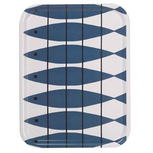 large kitchen birch laminated tray in blue & white vintage herring design