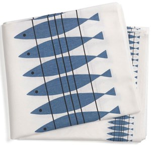 blue and white cotton/linen dinning tablecloth featuring high quality Swedish vintage Marianne Nilss