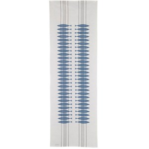 blue and white fresh looking cotton/linen dining table runner in classic Swedish design Sill