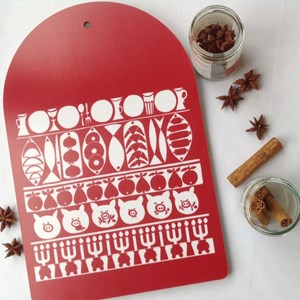 Jul red and white veneer kitchen chopping board an authentic retro Swedish Marianne Westman design t