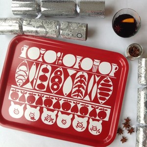 Jul large Xmas kitchen birch laminated tray in red and white vintage Christmas design by Marianne We