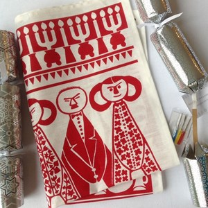 jul tea towel in red and white is an authentic retro scandiavian christmas design from 1952 by maria