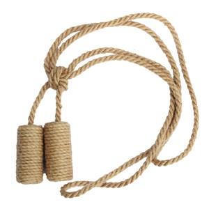undyed jute cylinder curtain tieback that's been hand-wrapped for that natural holdback look