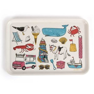 seaside fun holiday large tray by British designer charlotte farmer featuring all things nautical an