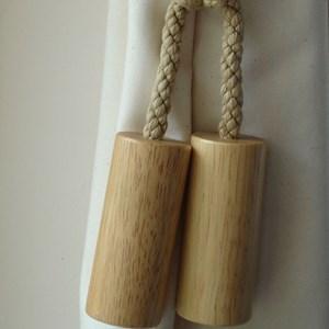large wooden cylinder tiebacks -  natural