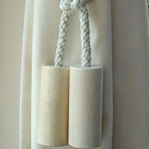 large wooden cylinder tiebacks -  whitewash
