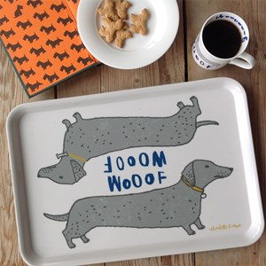 wooof large tray showing dachshund sausage dogs saying woof drawn by fun illustrator charlotte farme