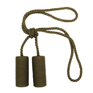 large jute cylinder tiebacks - leaf green