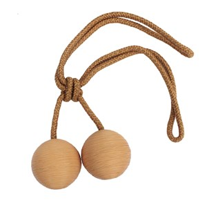 large leather ball tieback -  camel