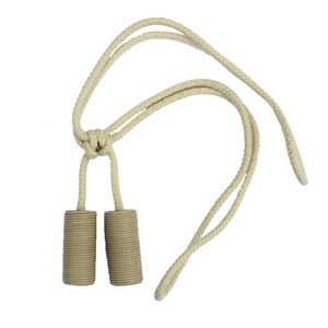 small sophisticated cream leather cylinder-shaped curtain tieback or elegant holdback