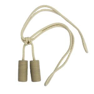 small leather cylinder tieback - cream