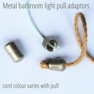 glass ball light pull -  black leather thong