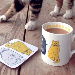 meow mug & coaster gift set of plump content cat saying meow drawn by humerous illustrator charlotte