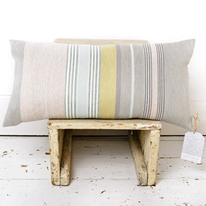 mistley striped luxury cushion designed by laura fletcher in silk & cotton woven apple green & yello