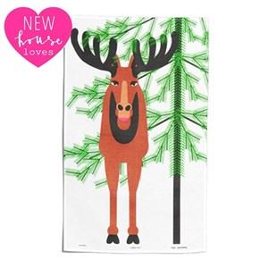 moose tea towel by Jukomero shows a large scandinavian elk with horns