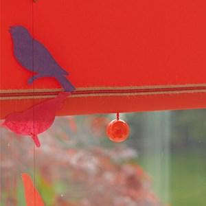 orange bobbi ball window blind pulls that are gloss painted wooden balls