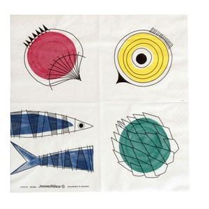picknick design kitchen paper napkins a vintage swedish print by Marianne Westman showing salad ingr