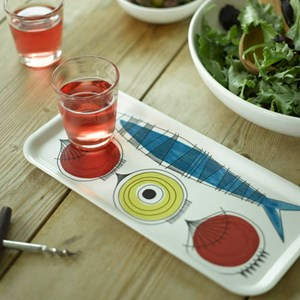 picknick design small drinks tray a vintage swedish print by Marianne Westman showing salad ingredie